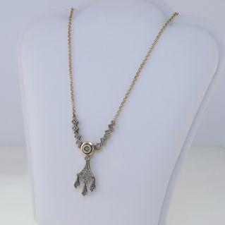 ANTIGUA ESTILO Collar, Rosetta Diamantes cortados, 14 Kt Plata de Oro y Plata