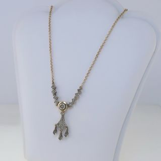 ANTIQUE STYLE Necklace, Rosetta Cut Diamonds, 14 Kt Silver Gold and Silver