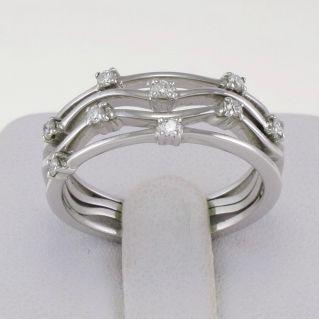 GIANNI CARITA' 18 kt White Gold Band Ring - Diamonds Ct 0.18 G/VVS