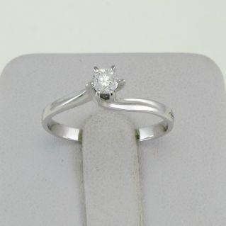 GIANNI CARITA Solitario mod. Valentine, Diamante Ct 0.19 G/SI, oro bianco 18 Kt