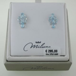Boucles MILUNA Topaz bleu Certifié Naturel, Total Ct. 12.10, or 375‰