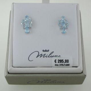 Ohrringe MILUNA Topaz blau Zertifiziert Natural, Total Ct. 12.10, Gold 375‰