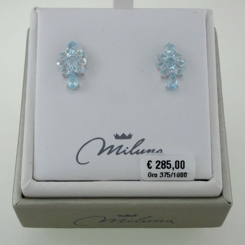 Earrings MILUNA Topaz blue Certified Natural, Total Ct. 12.10, Gold 375‰