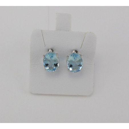 Earrings PENSIERI Natural Aquamarine Ct. 2,00 - Gold 750 ‰