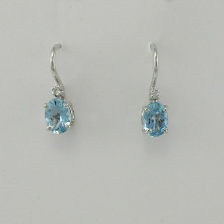 Earrings PENSIERI Natural Aquamarine Ct. 1.40, Diamonds Pt 3.5 G/VS, Gold 750 ‰