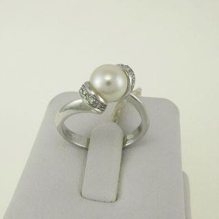 Anello PENSIERI con Perla Naturale Coltivata7,5-8 Diamanti Pt 5 - Oro 18 Kt