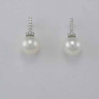 GIANNI CARITA' Boucles d'Oreilles, Perles 10 mm, Diamants Ct 0.13 G/SI - Or 750