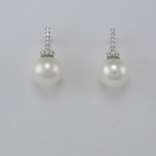 GIANNI CARITA' Pearl Earrings 10 mm - Diamonds Ct 0.13 G/SI - 750 White Gold