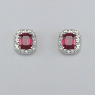 GIANNI CARITA' Boucles d'Oreilles Rubis Ct 1.30, Diamants Ct 0.16 G/SI - Or 750