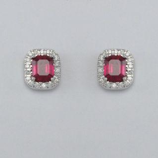 GIANNI CARITA' Orecchini Rubini Ct 1.30 - Diamanti Ct 0,16 G/SI - Oro Bianco 750
