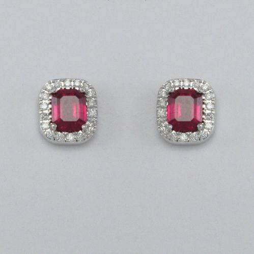 GIANNI CARITA' Rubies Earrings Ct 1.30 - Diamonds Ct 0.16 G/SI - 750 White Gold