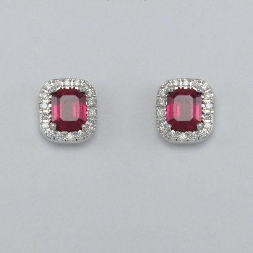 GIANNI CARITA' Rubine Ohrringe Ct 1.30 - Diamanten Ct 0.16 G / SI - 750 Weißgold