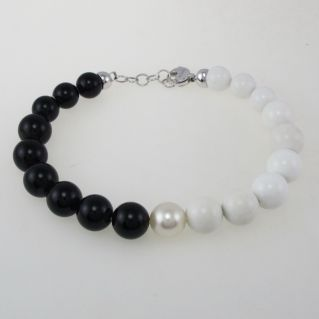 Pulsera NIMEI Bolas de onix + perla blanca natural 10 mm, oro 750