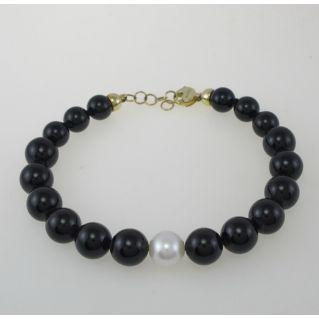 NIMEI-Armband Schwarze Onyx-Kugeln, naturliche weiße Perle 10 mm, 18Kt Gold