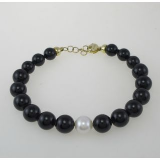 NIMEI bracelet Black Onyx Spheres, natural white pearl 10 mm, 750 gold
