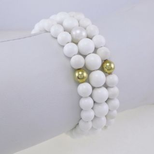 NIMEI bracelet White onyx spheres, gold spheres, 10 mm natural pearls, 750 gold