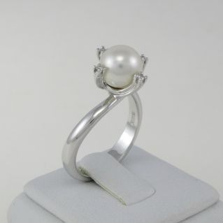 NIMEI ring Natural cultured pearl and diamonds - 750 oro white gold