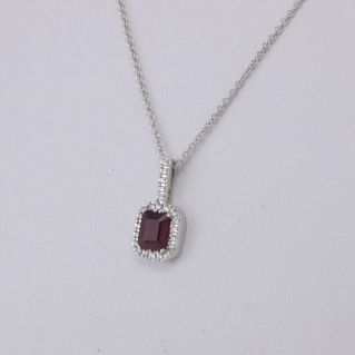 GIANNI CARITA' necklace - Pt 7 G / SI Diamonds - Ct 0.65 Ruby - 18 Kt White Gold