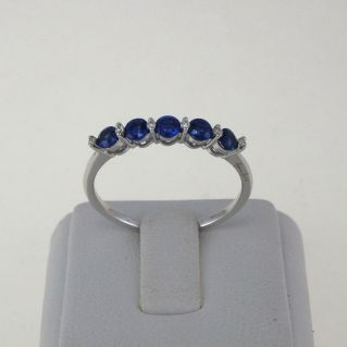 GIANNI CARITA' Ring - Pt 6 G / SI Diamonds - Ct 0,60 Sapphires - 18 kt Gold