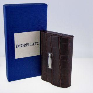 MORELLATO Business card holder in crocodile printed leather