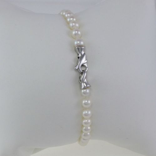 Bracciale Perle Akoya naturali coltivate 4,5-5 Fermezza in Oro Bianco
