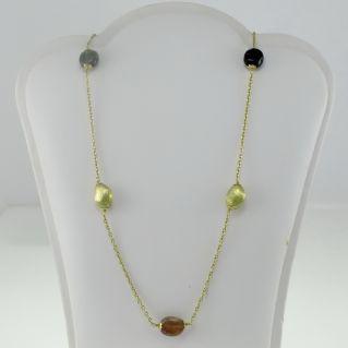 Collar de oro de 18 kt con turmalinas naturales - producción artesanal de Italia