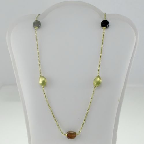 18 kt Gold Necklace with natural tourmalines - Handmade Italy production