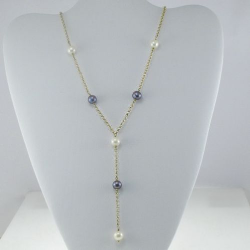 18 kt Gold Necklace with Fresh Water pearls - Handicraft Italy production