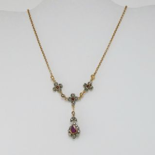 Necklace antique style, Rosette diamonds, Rubies, 14k gold, silver, handcrafted