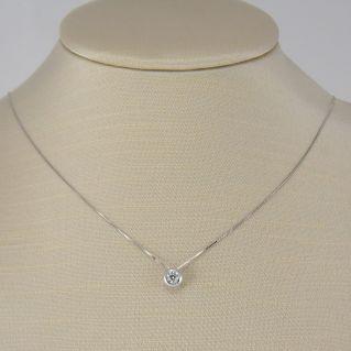 Girocollo GIANNI CARITA' Diamante Centrale Ct 0.25 - G color - Oro bianco 18 Kt