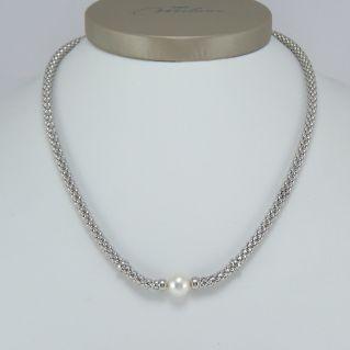 Collier MILUNA, centrale avec perle LR naturelle - 925‰ Argent