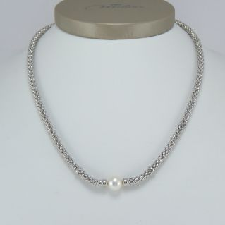 MILUNA Halskette, zentral mit natürlicher Perle - 925 ‰ Silber