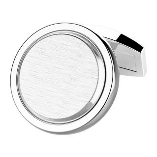 ZANCAN - Round cufflinks in polished and satin silver