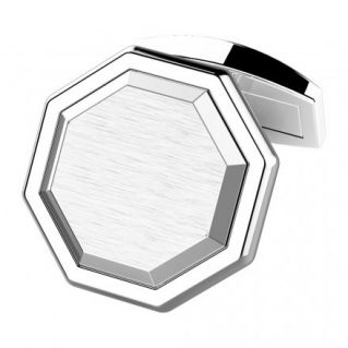 ZANCAN - Octagonal cufflinks in polished and satin silver