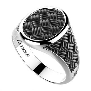 ZANCAN - Silver ring with black rhodium-plated weave