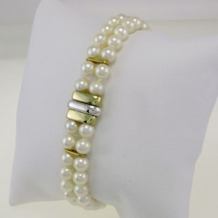 Bracciale perle giapponesi Akoya, Damiani-Mikawa, oro bianco e giallo 18 kt