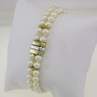 Pulsera perlas japonesa Akoya, Damiani-Mikawa, oro blanco-amarillo de 18 kt