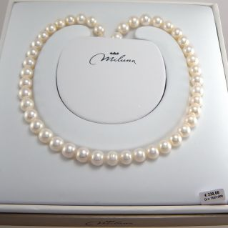 MILUNA Choker Cultured Pearls LR, white, 8.5-9 mm, 750 Oro Gold