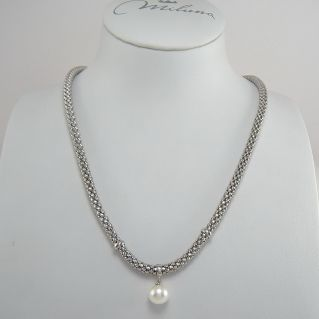 MILUNA necklace - 925 ‰ silver with white cultured pearl 8.5-9 mm