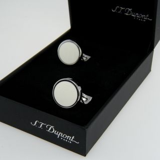 S.T. DUPONT Men's cufflinks - Mother of pearl lacquer and polished steel