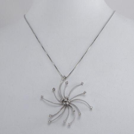 MILUNA Necklace Venetian chain, Central with 20 Diamonds Pt 22, Gold 750‰