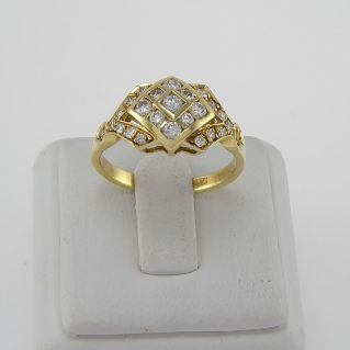 Ring with Ct Diamonds, Ct 0,60 H color - 18 Kt yellow gold