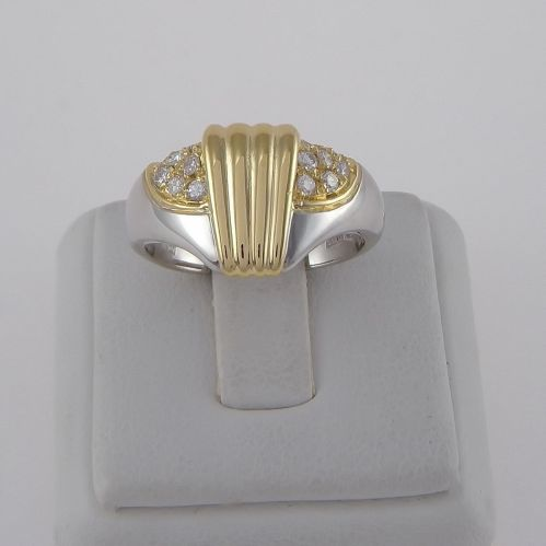 Ring with Diamonds Ct 0,25 H color- 18 Kt white and yellow gold