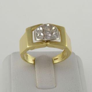 Anillo de banda con diamantes Ct 0,10 H color - oro amarillo y blanco de 18 Kt