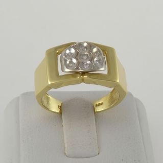 Bague avec diamants Ct 0,10 couleur H - or jaune et blanc 18 Kt