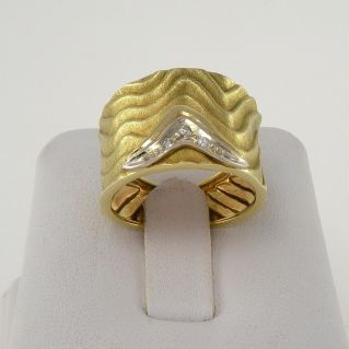 Band ring with Diamonds Pt 5 H color - 18 Kt yellow and white gold