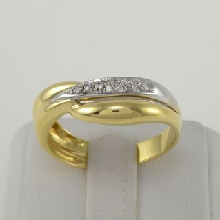 DAMIANI Ring with Diamonds Ct 10 H color - 18 Kt yellow and white gold