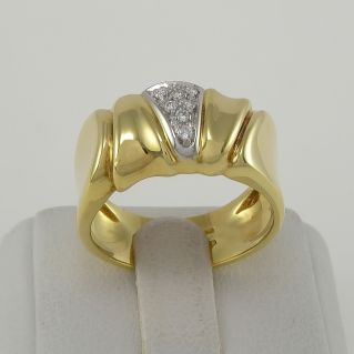 DAMIANI band ring with Diamonds Ct 0,10 H color - 18 Kt yellow and white gold