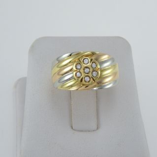 Band ring with Diamonds Ct 0,18 H color - 18 Kt white, yellow and pink gold