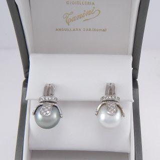 Orecchini Perla Australia mm 13 Perla Tahiti mm 13, Diamanti, Oro bianco 18Kt